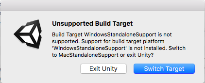 Popup message about the build target
