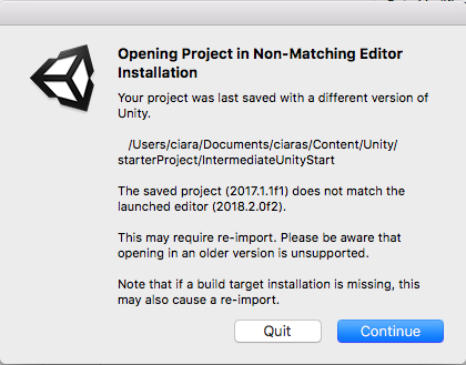 Popup message about non-matching editors