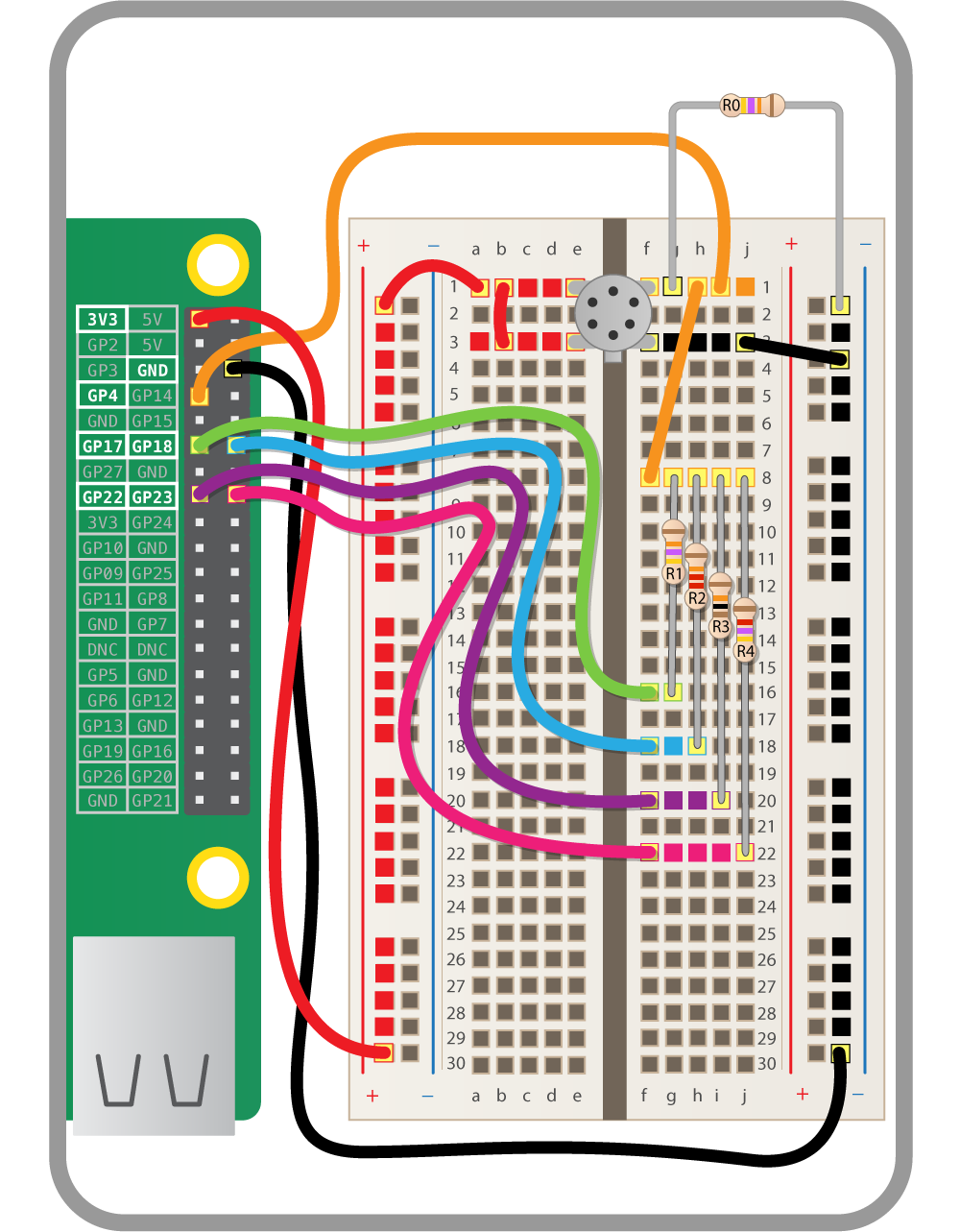 Fart Detector Build A Resistor Ladder Dac Raspberry Pi Projects Resistors In Series Connected This Is Just To Expand The Number Of Holes That Are Pin 2 Air Quality Sensor Allowing Us Set Off Each Make Up