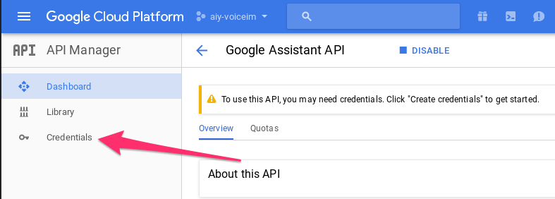 Control LEDs with your voice - Setting up the Assistant API