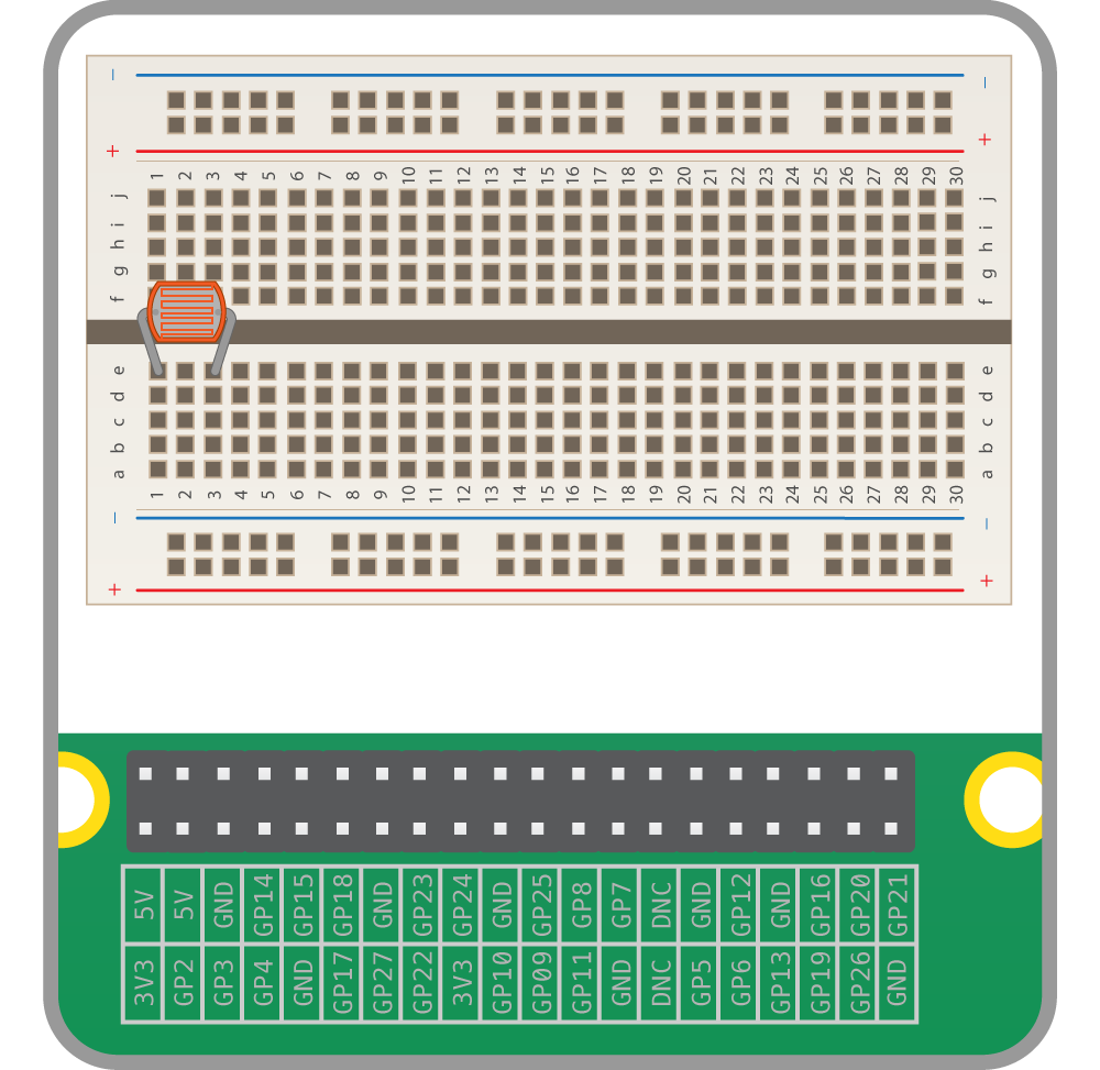 Physical Computing With Python Using A Light Dependent Resistor Circuit Sensitive Switch Ldr 2n2926 Now Place Capacitor In Series The As Is Polar Component You Must Make Sure Long Leg On Same Track