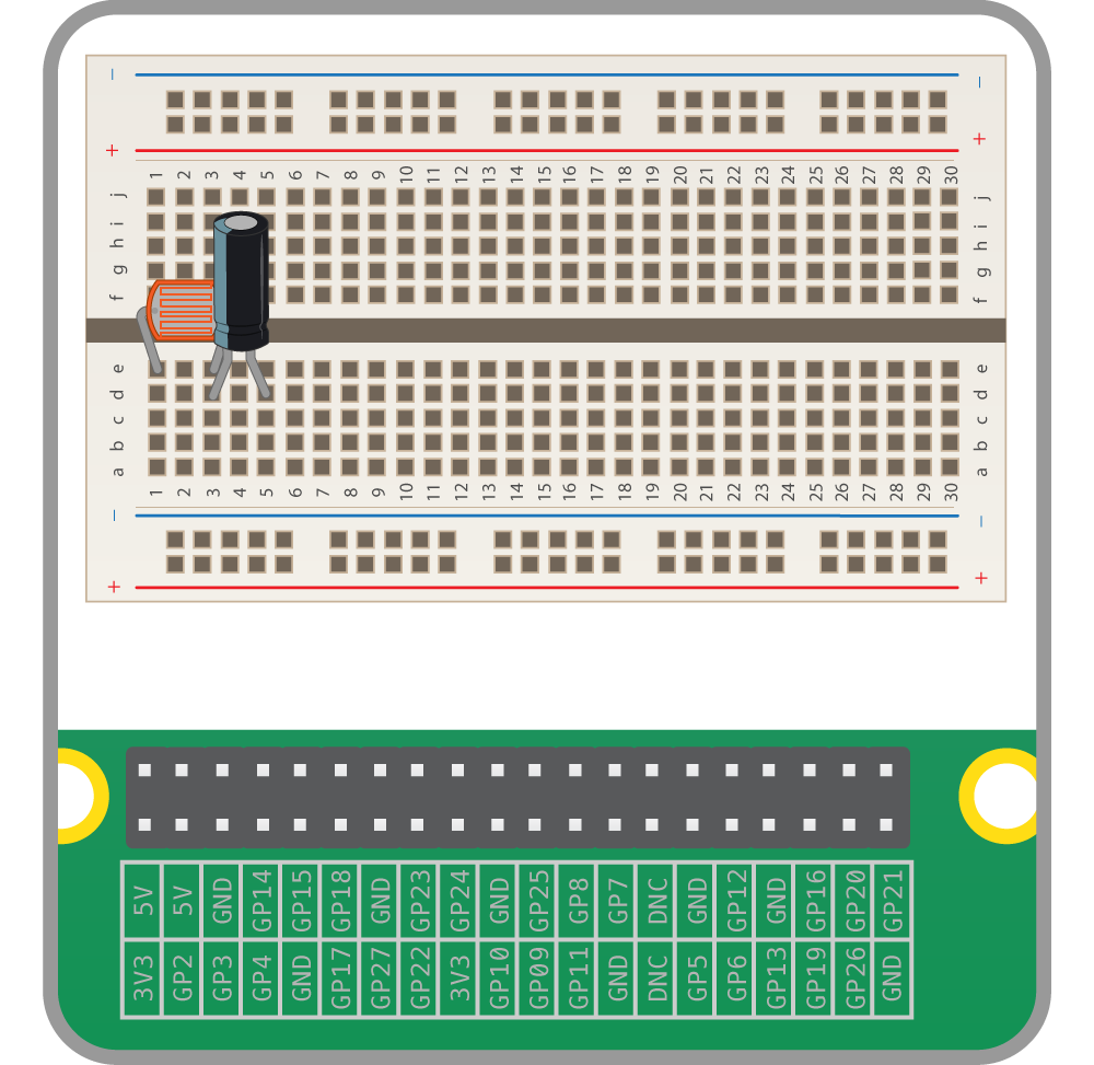 Physical Computing With Python Using A Light Dependent Resistor Capacitor Transistor Set For Diy Flashing Led Circuit Now Place In Series The Ldr As Is Polar Component You Must Make Sure Long Leg On Same Track