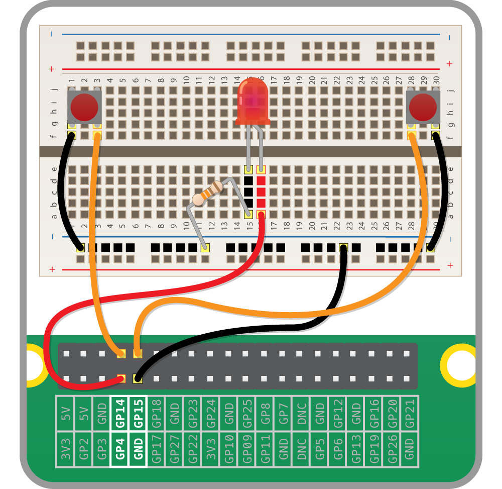 Python Quick Reaction Game Building The Circuit Raspberry Pi Led On Breadboard Is Take One Of Your Tactile Buttons And Push It Into Holes With Set Legs Row H J
