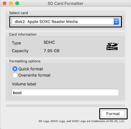 sd card formatter in macos