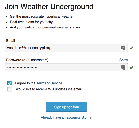 Uploading weather data to Weather Underground - Registering